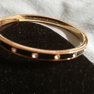 KATE SPADE BLACK & GOLD w/DIAMONDS  BANGLE NWT!!